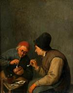 Adriaen van Ostade  - Bilder Gemälde - Two Peasants Smoking