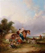 William Joseph Shayer - Bilder Gemälde - A Gypsy Encampment