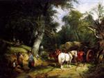 William Joseph Shayer - Bilder Gemälde - Carting Timber In The New Forest