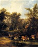 William Joseph Shayer - Bilder Gemälde - Cattle By A Stream