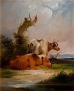 William Joseph Shayer - Bilder Gemälde - Cows, White Cow Standing