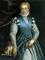 Paolo Veronese  - Bilder Gemälde - Portrait of a Woman with a Dog