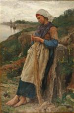 Jules Breton - Bilder Gemälde - A Fisherman's Daughter