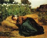 Jules Breton - Bilder Gemälde - A Rest in the Fields