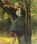 Jules Breton - Bilder Gemälde - Asleep In The Woods