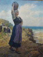 Jules Breton - Bilder Gemälde - At the Fountain