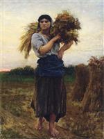 Jules Breton - Bilder Gemälde - In the Fields, Evening
