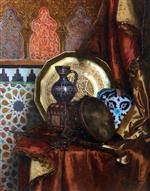 Rudolf Ernst - Bilder Gemälde - A Tambourine, Knife, Moroccan Tile and Plate on Satin covered Table