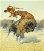Frederic Remington - Bilder Gemälde - An Episode of the Buffalo Hunt