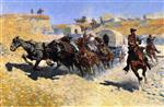 Frederic Remington - Bilder Gemälde - Attack on the Supply Wagons