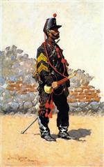 Frederic Remington - Bilder Gemälde - Bugler of Cavalry