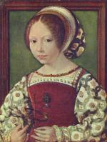 Jan Gossaert - paintings - Young Girl with Astronomic Instrument