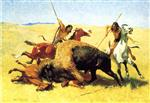 Frederic Remington  - Bilder Gemälde - The Buffalo Hunt