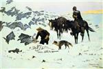 Frederic Remington  - Bilder Gemälde - The Frozen Sheepherder
