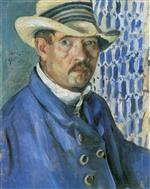 Lovis Corinth  - Bilder Gemälde - Self Portrait in a Panama Hat