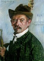 Lovis Corinth  - Bilder Gemälde - Self Portrait in a Tyrolean Hat