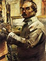 Lovis Corinth  - Bilder Gemälde - Self Portrait in a White Smock