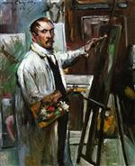 Lovis Corinth  - Bilder Gemälde - Self Portrait in the Studio