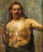 Lovis Corinth  - Bilder Gemälde - Self Portrait with a Glass