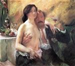 Lovis Corinth  - Bilder Gemälde - Self Portrait with Charlotte Berend and a Glass of Champagne