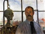Lovis Corinth  - Bilder Gemälde - Self Portrait with Skeleton