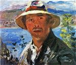 Lovis Corinth  - Bilder Gemälde - Self Portrait with Straw Hat