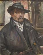 Lovis Corinth  - Bilder Gemälde - Self-Portrait with Hat and Coat