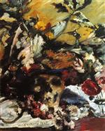 Lovis Corinth  - Bilder Gemälde - Still Life with Flowers, Skull and Oak Leaves