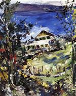 Lovis Corinth  - Bilder Gemälde - The Walchensee, Country House with Washing on the Line