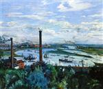 Lovis Corinth  - Bilder Gemälde - View of the Kohlbrand, Hamburg