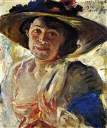 Lovis Corinth  - Bilder Gemälde - Woman in a Hat with Roses
