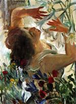 Lovis Corinth  - Bilder Gemälde - Woman with Lilies in a Greenhouse