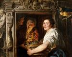 Jacob Jordaens - Bilder Gemälde - A Maidservant with a Basket of Fruit and Two Lovers