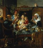 Jacob Jordaens - Bilder Gemälde - As the Old Sang, so the Young Pipe