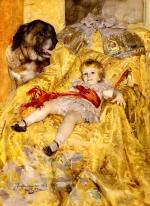 Anders Zorn - paintings - A Portrait of Christian De Falbe with a Saint Bernard at Luton Hoo