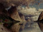 Adelsteen Normann - paintings - A Cloudy Day on a Fjord