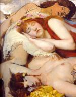 Sir Lawrence Alma Tadema  - Bilder Gemälde - Exhausted Meanides after the dance