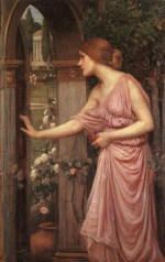 John William Waterhouse  - Bilder Gemälde - Psyche tritt in Armors Garten