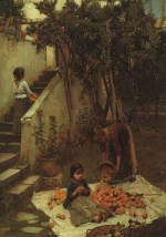 John William Waterhouse  - Bilder Gemälde - Die Orangensammler