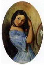 John Everett Millais - paintings - Young Girl Combing Her Hair
