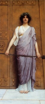 John William Godward - paintings - At the Gate of the Temple