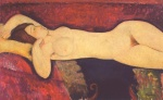 Amadeo Modigliani - Peintures - Grand nu couché (Le grand nu)