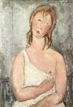 Amadeo Modigliani - paintings - Girl in a White Chemise