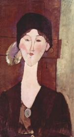 Amadeo Modigliani - Peintures - Portrait de Beatrice Hastings en face d'une porte