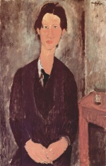 Amadeo Modigliani - Peintures - Portrait de Chaiim Soutine assis à une table