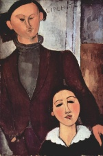 Amadeo Modigliani - paintings - The Sculptor Jacques Lipchitz and His Wife Berthe Lipchitz