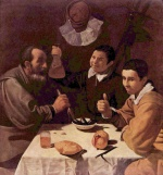 Diego Velázquez - paintings - Three Man at a Table