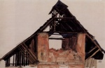 Egon Schiele - paintings - Alter Giebel
