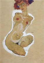 Egon Schiele - paintings - Hockender weiblicher Akt