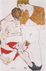 Egon Schiele - paintings - Liebespaar